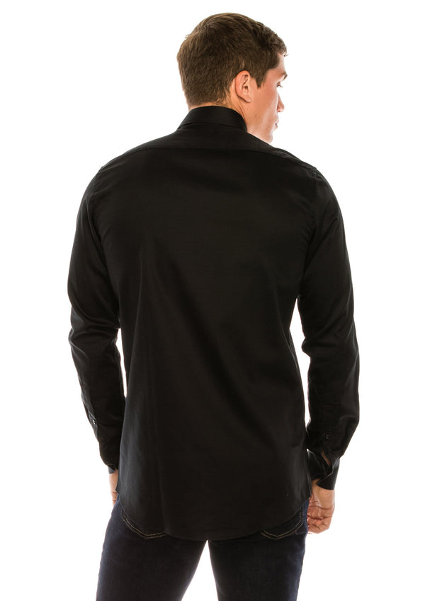 Pure Cotton Sateen Dress Shirt - Black