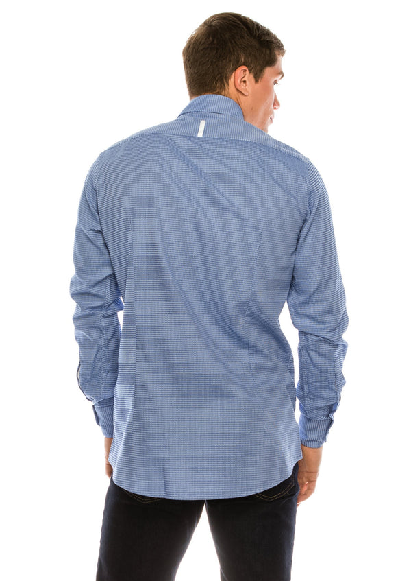 Jacquard Cotton Tonal Button Dress Shirt - Blue