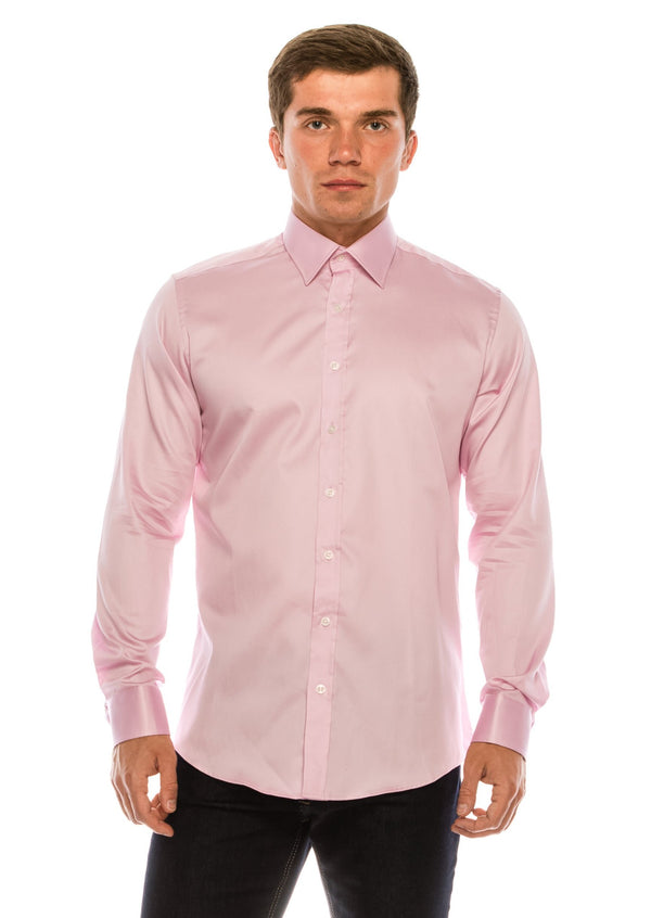 Pure Cotton Sateen Dress Shirt - Pink - Ron Tomson
