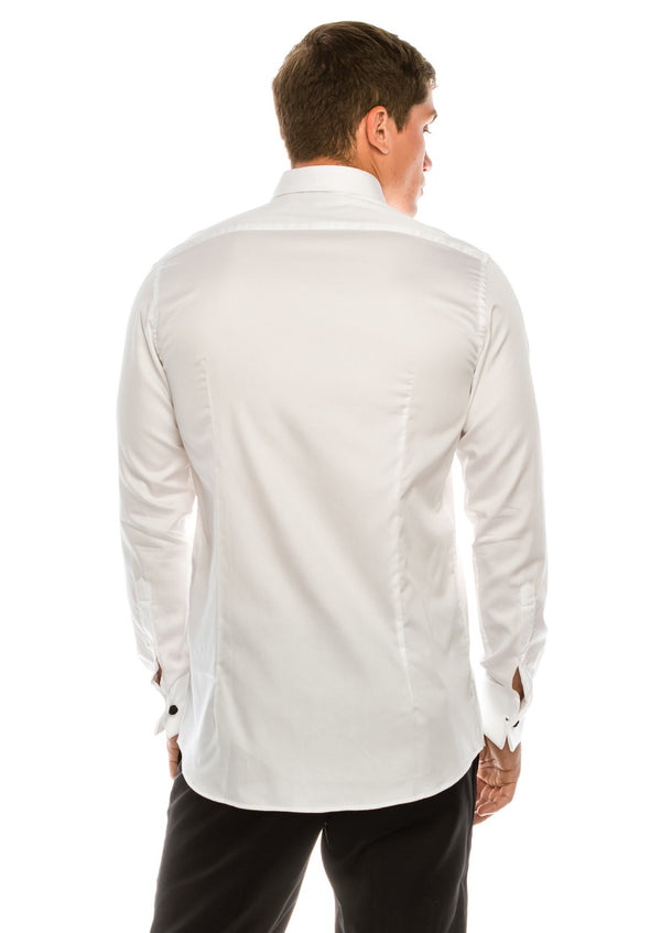 Classical Top 3 Front Stud Tuxedo Shirt - White - Ron Tomson