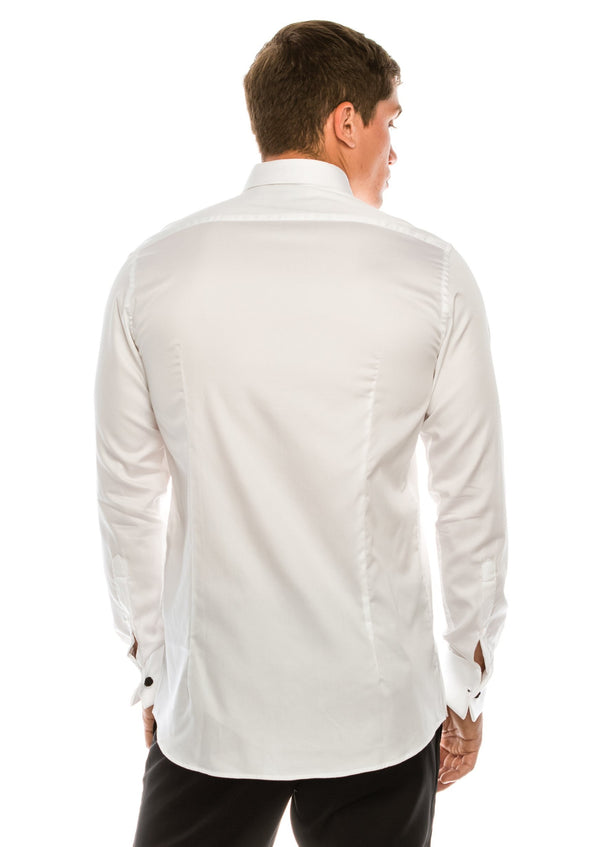 Diagonal Pleated Wing Tip Collar Shirt - White - Ron Tomson