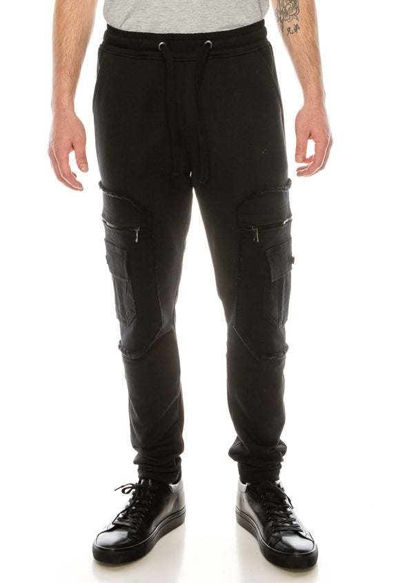 Mixed-Media Denim Track Suit Jogger - BLACK BLACK - Ron Tomson