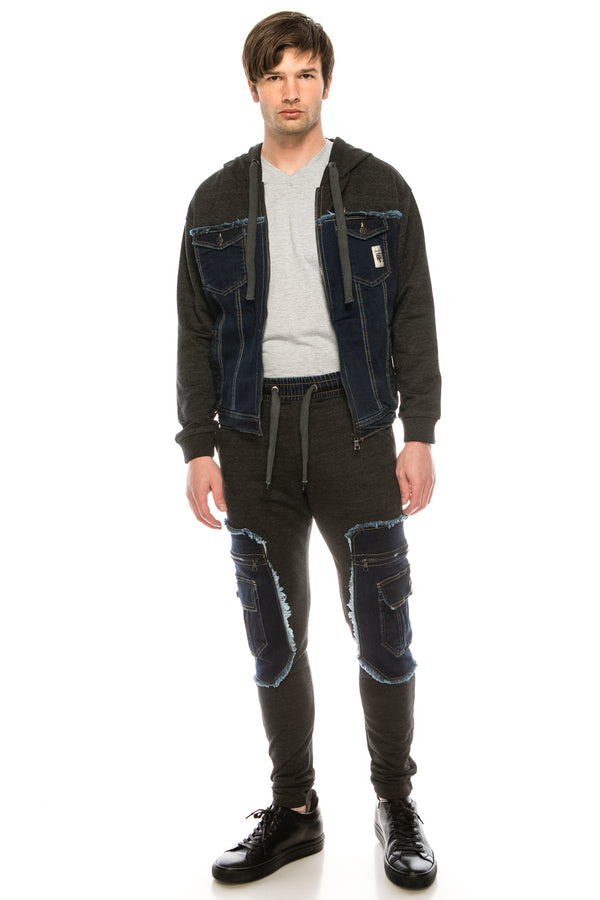 Mixed-Media Denim Track Suit Jacket - DARK NAVY - Ron Tomson