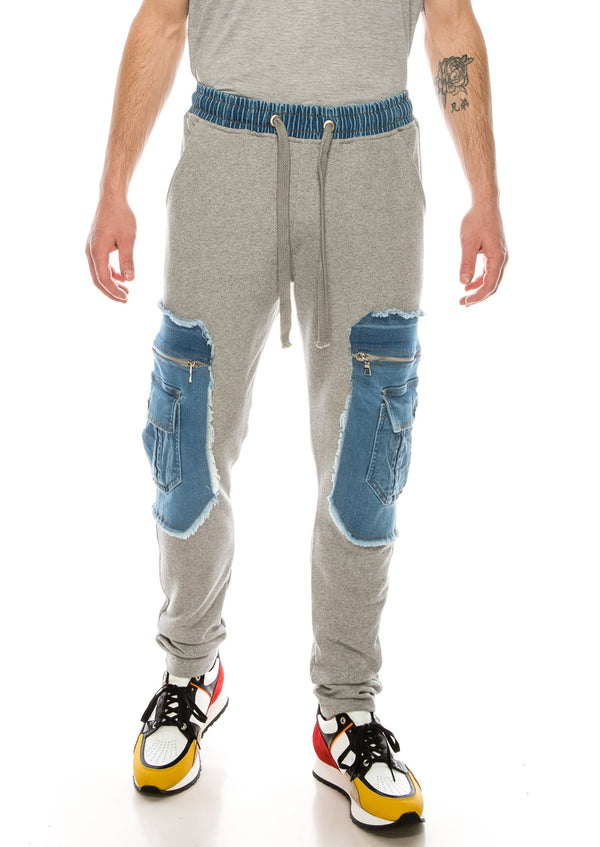 Mixed-Media Denim Track Suit Jogger - GREY - Ron Tomson