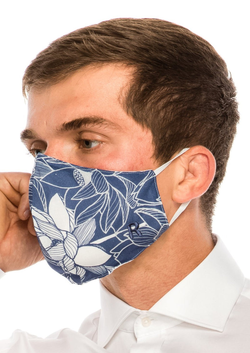 Face masks reusable and washable - Navy White Floral - Ron Tomson