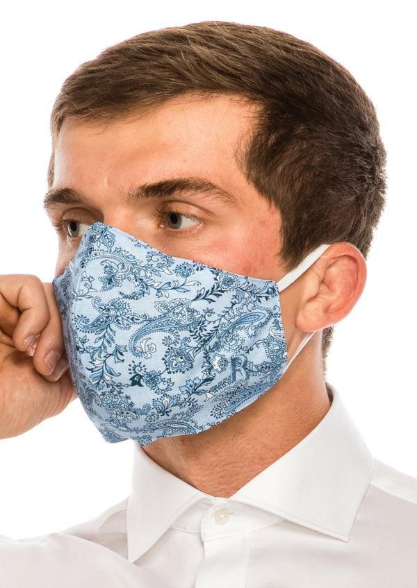 Face masks reusable and washable - Light Blue Paisley