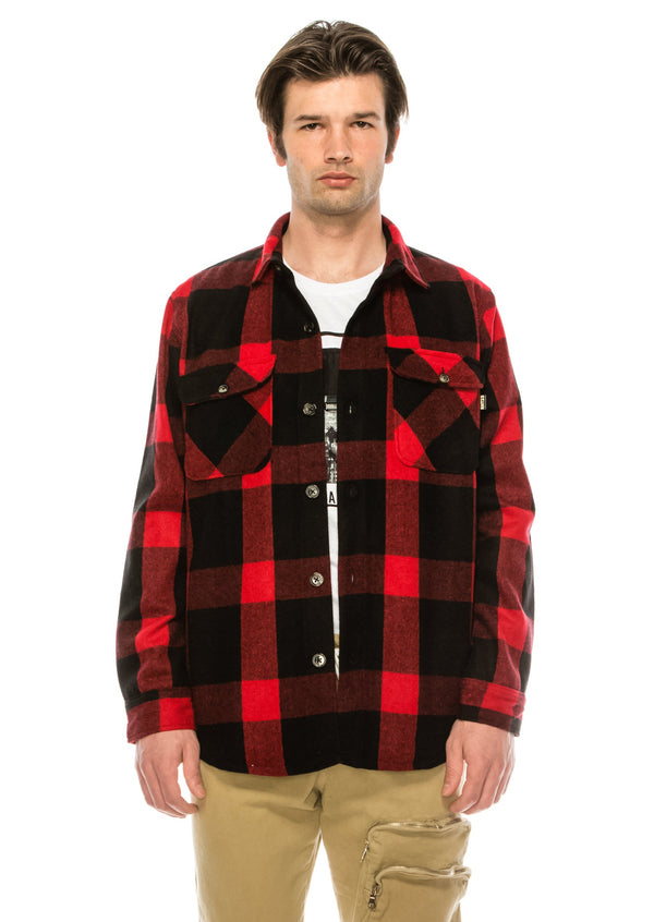 The sartorial woodsman flannel shirt - RED BLACK - Ron Tomson