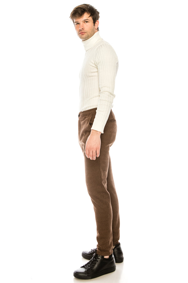 COTTON BLEND HOUNDSTOOTH KNIT SWEATPANTS - CAMEL BLACK - Ron Tomson