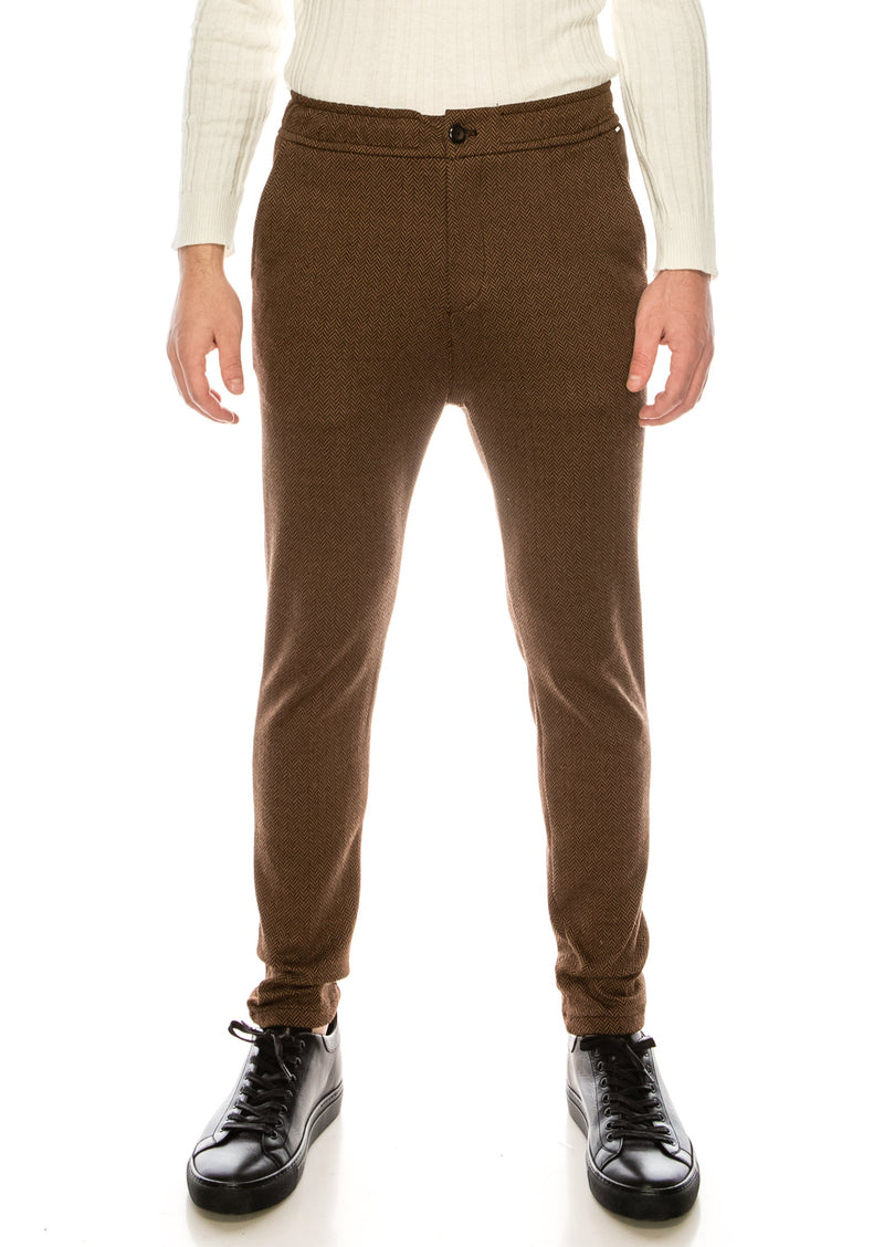 COTTON BLEND HOUNDSTOOTH KNIT SWEATPANTS - CAMEL - Ron Tomson