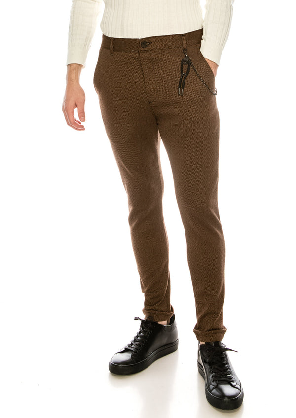 Cotton Blend Houndstooth Knit Pant - CAMEL BLACK - Ron Tomson