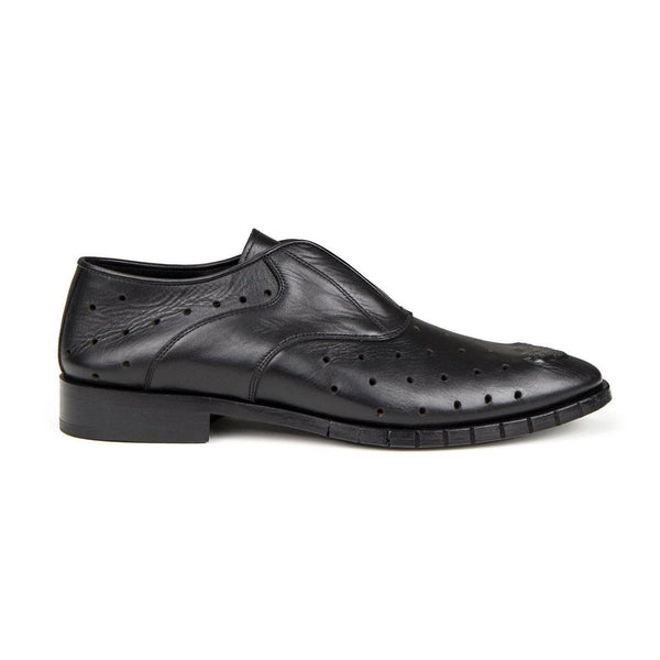 31463 PERFORATED METAL TOE DERBIES - BLACK - BLACK - Ron Tomson
