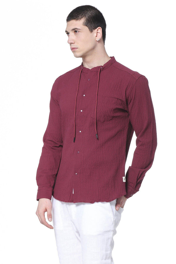 Drawstring Lightweight Popover Shirt- Burgundy - Ron Tomson