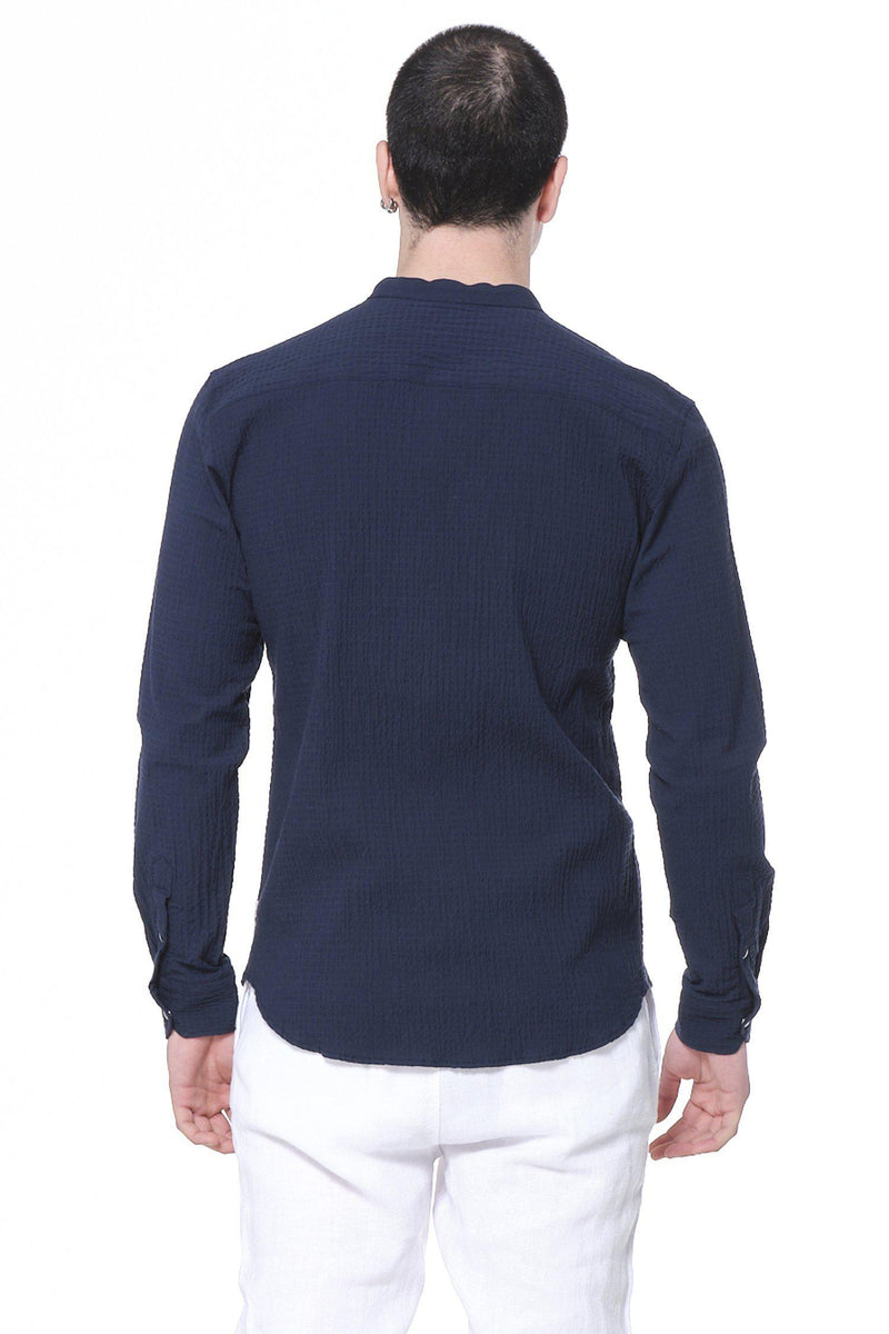 Drawstring Lightweight Popover Shirt - Navy - Ron Tomson