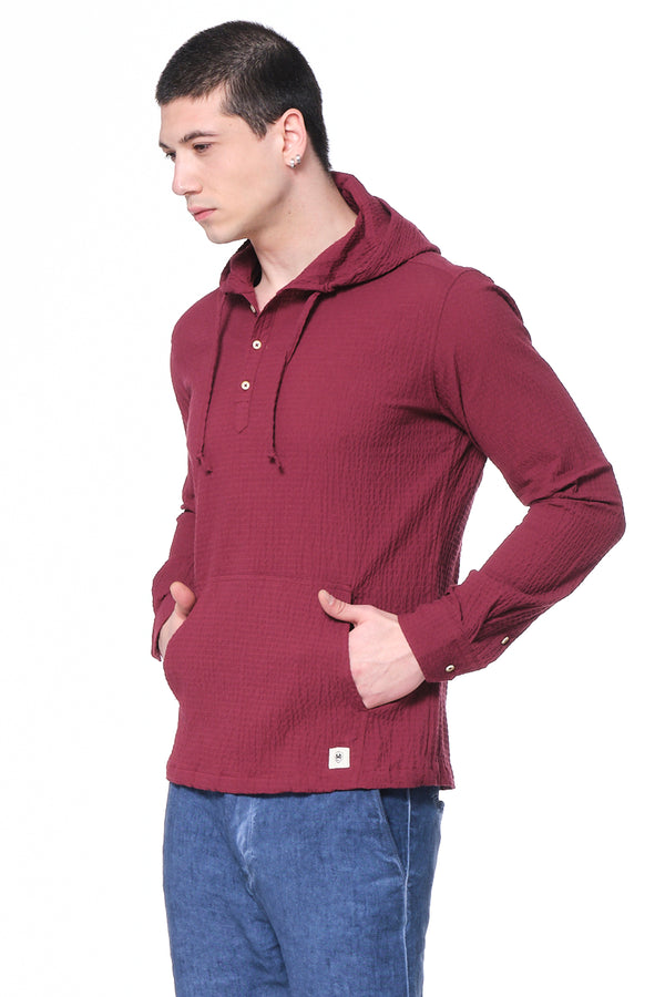 Waffle linen Hooded Shirt - BORDEAUX - Ron Tomson