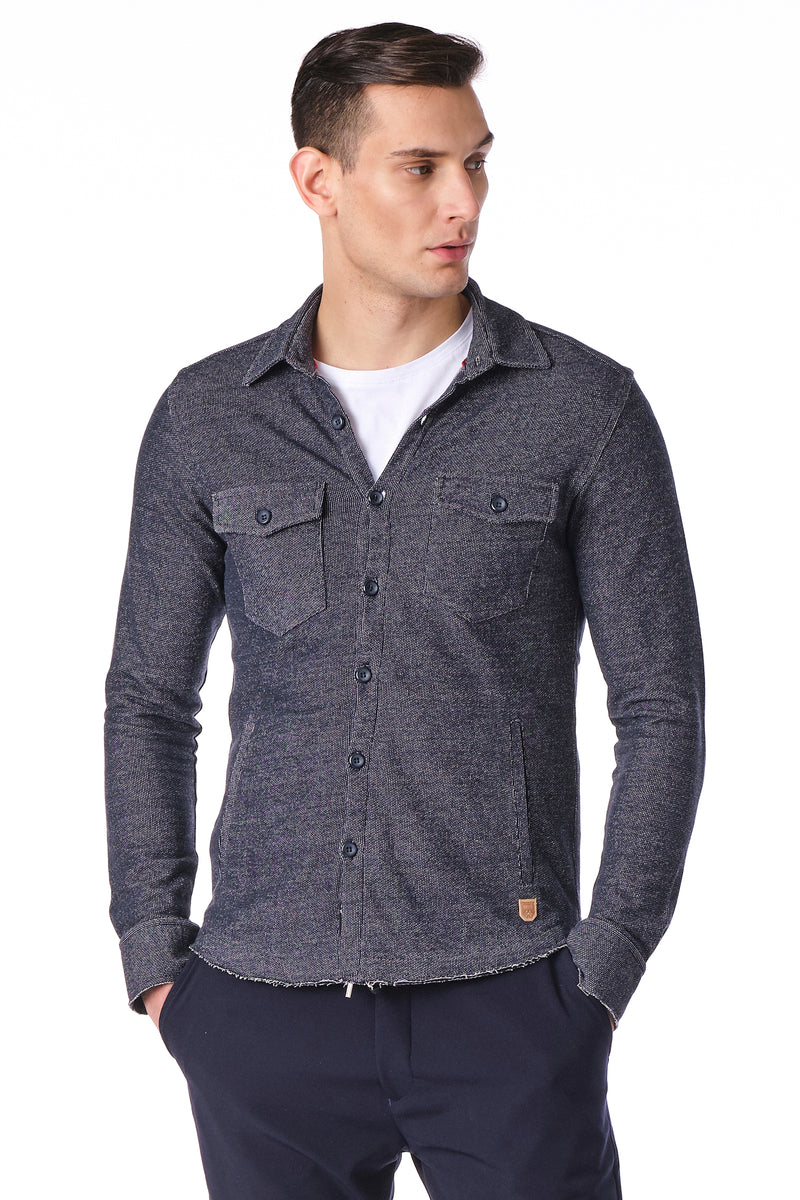 Button Down short jacket - Navy - Ron Tomson