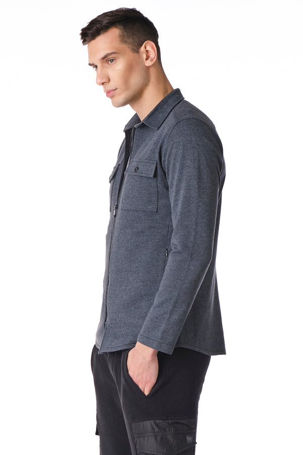 Full Zip Tech Shirt - Anthracite - Ron Tomson