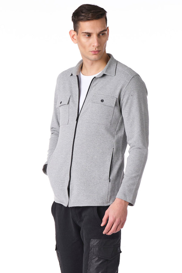 Full Zip Tech Shirt - Grey
