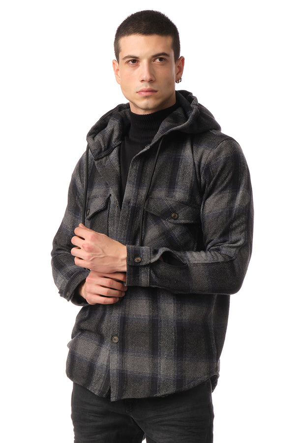 Plaided Shirt Jacket - Black Anthracite - Ron Tomson