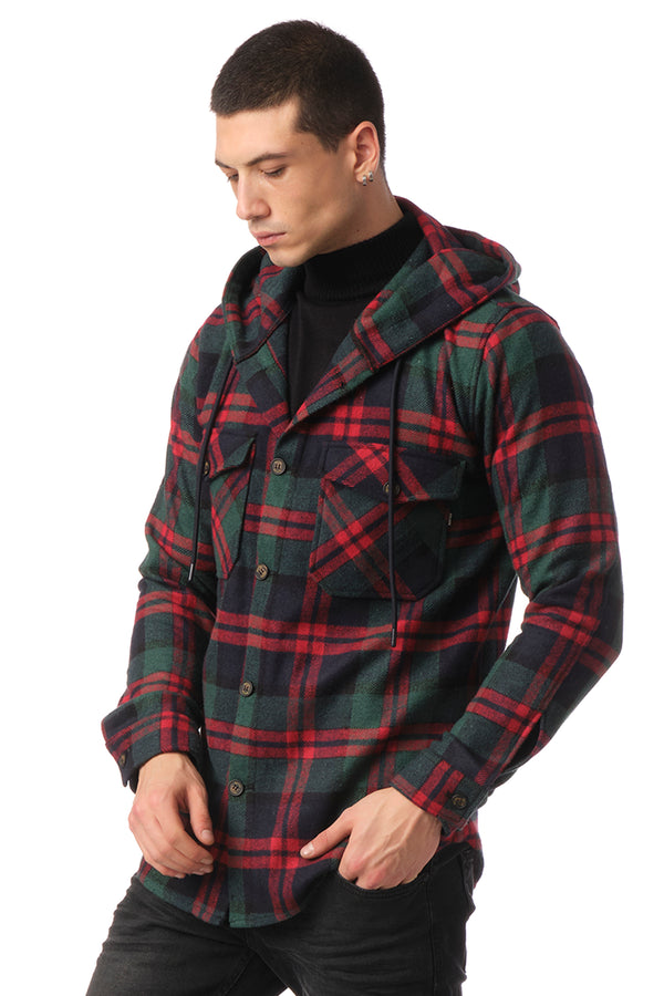 Plaided Shirt Jacket - Green Red - Ron Tomson
