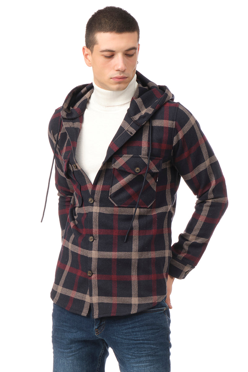 Plaided Shirt Jacket- Navy Red - Ron Tomson