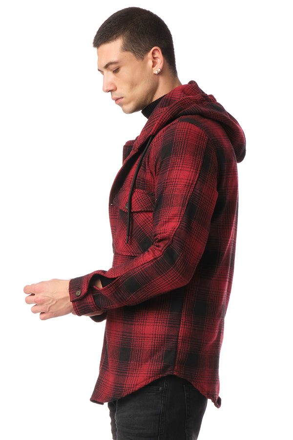 Plaided Shirt Jacket - Red Black - Ron Tomson