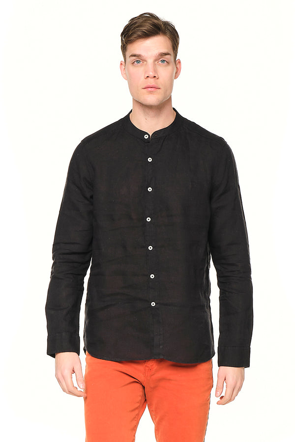 The Linen Grandad Shirt - BLACK - Ron Tomson