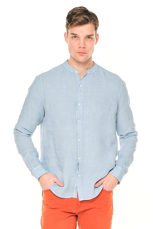 The Linen Grandad Shirt - Sky Blue - Ron Tomson