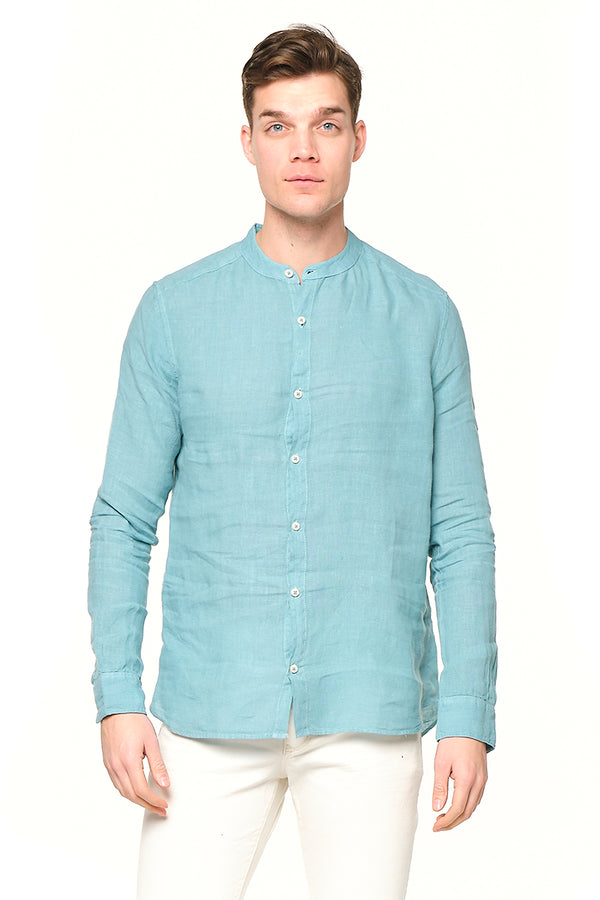 The Linen Grandad Shirt - Sage Green - Ron Tomson