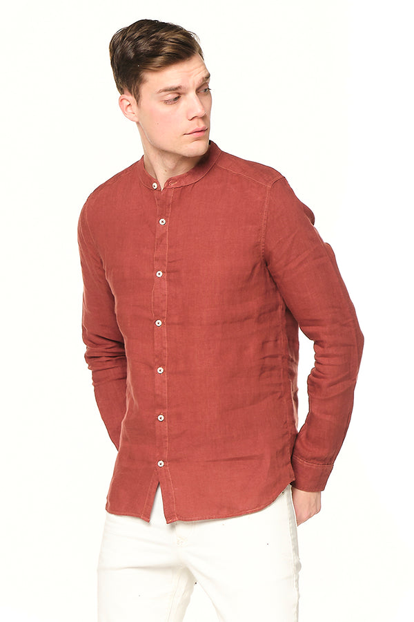 The Linen Grandad Shirt - Brick - Ron Tomson
