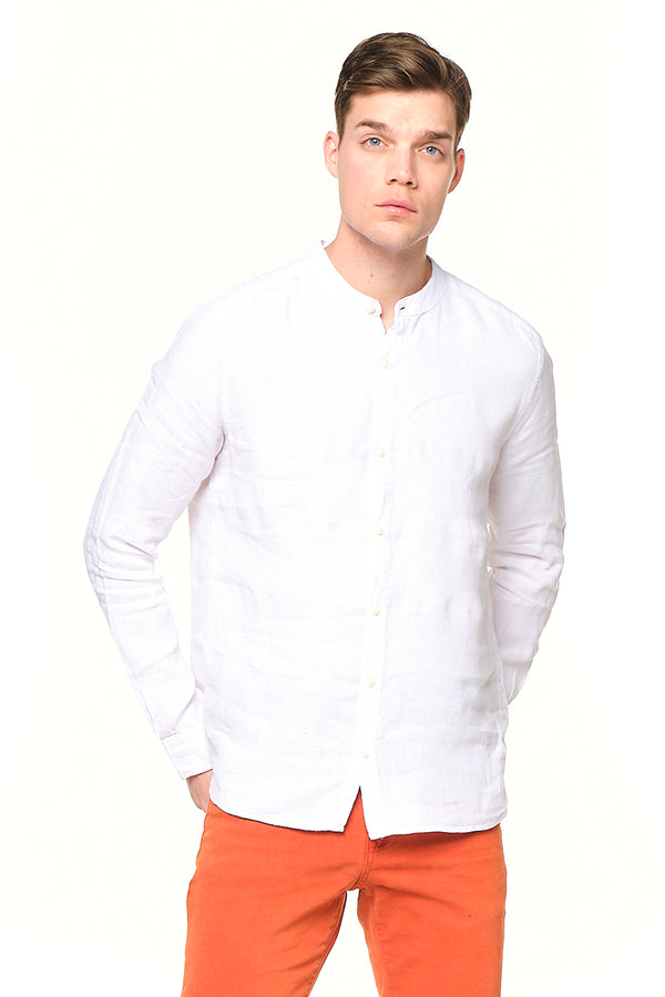 The Linen Grandad Shirt - Optic White - Ron Tomson