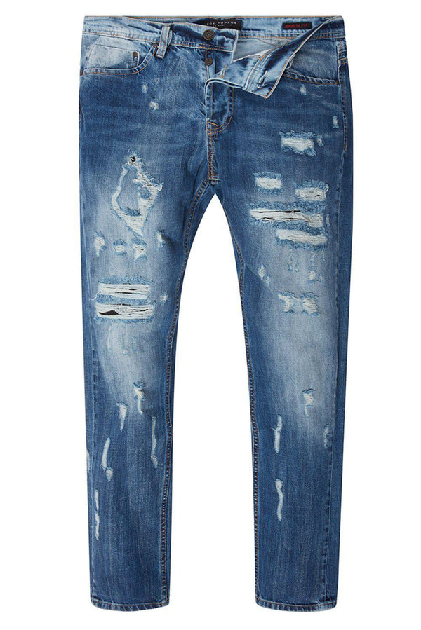 '55 SLIM STRAIGHT COTTON DENIM JEANS - NAVY - Ron Tomson