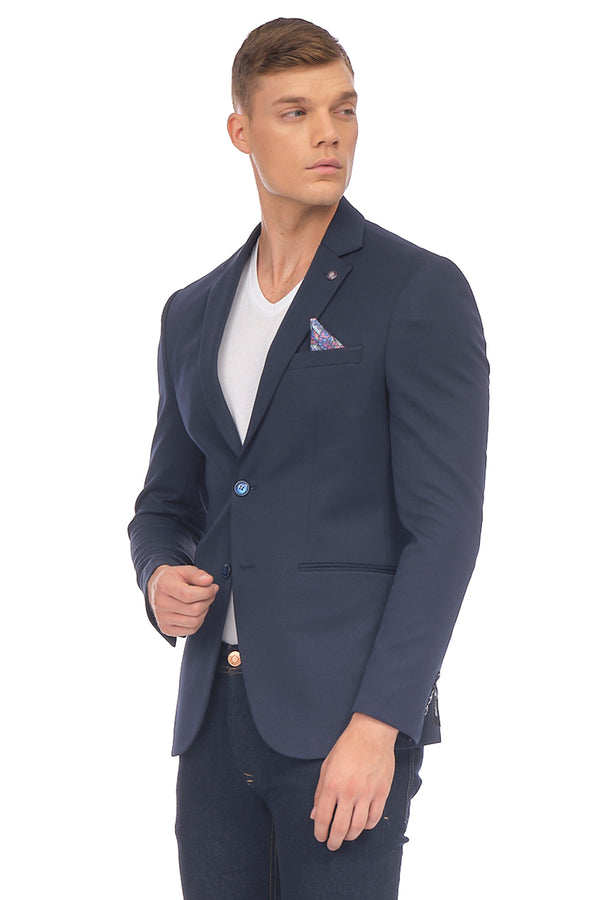 Two Button Sport Jacket  - Navy - Ron Tomson