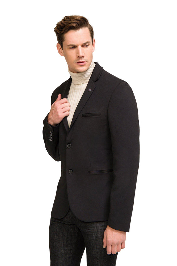 Two Button Sport Jacket - Black - Ron Tomson