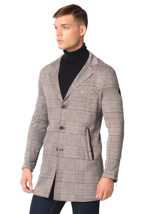 Long Lightweight Fitted Blazer - Black Red - Ron Tomson