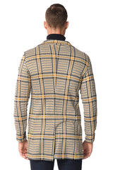 Long Lightweight Fitted Blazer - Black Yellow - Ron Tomson