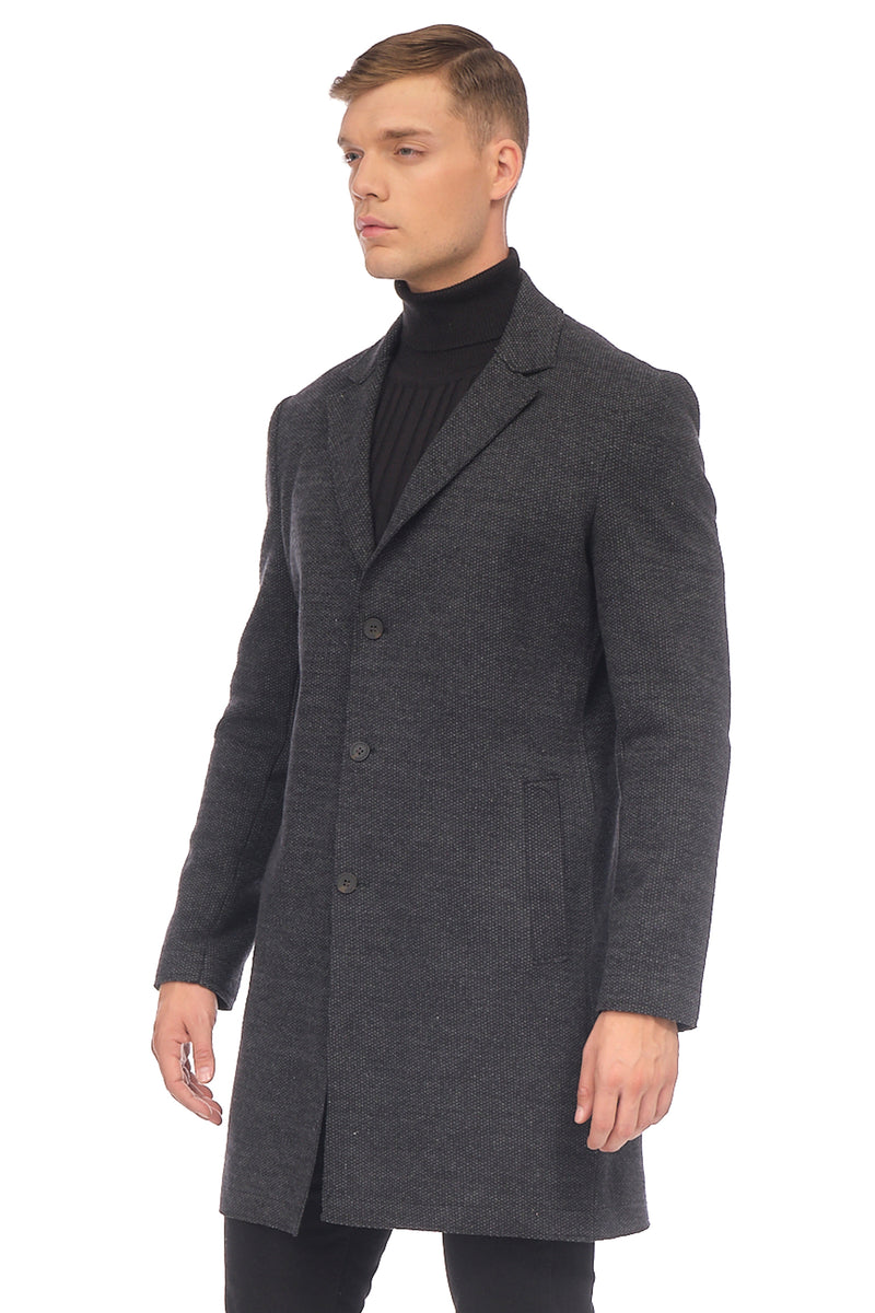 Longline Raw Edge Chesterfield Coat - BLACK - Ron Tomson