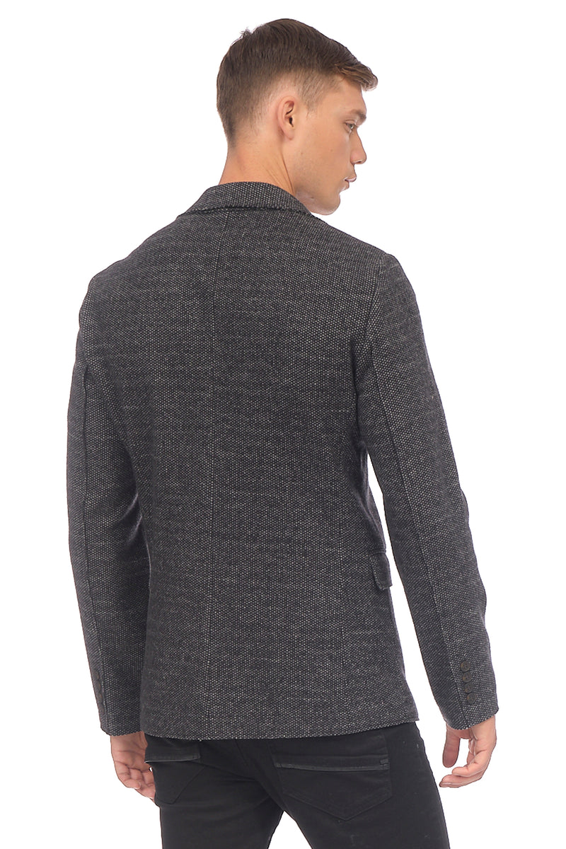 RAW EDGE FITTED CARDIGAN II - BLACK GREY - Ron Tomson