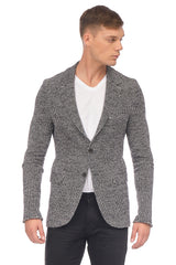 RAW EDGE FITTED CARDIGAN II - BLACK WHITE - Ron Tomson