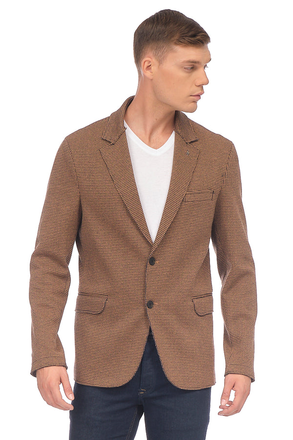 Cotton Blend Houndstooth Knit Jacket - CAMEL - Ron Tomson