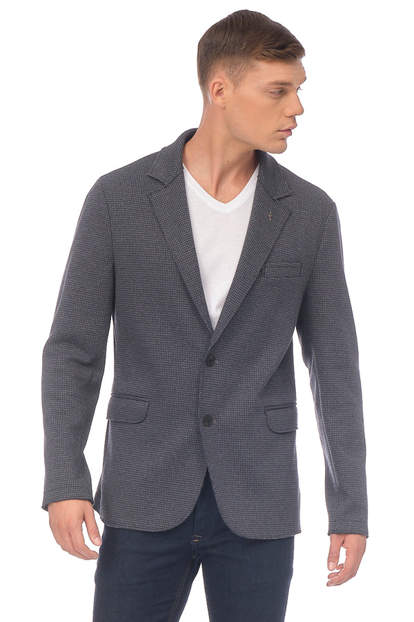 Cotton Blend Houndstooth Knit Jacket - NAVY - Ron Tomson