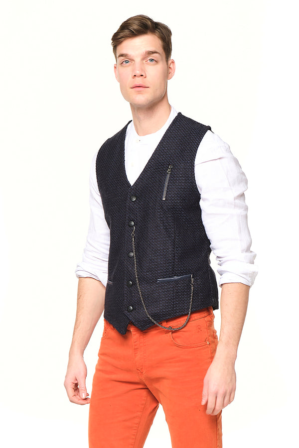 Pique Pocket-watch chain Vest - NAVY - Ron Tomson