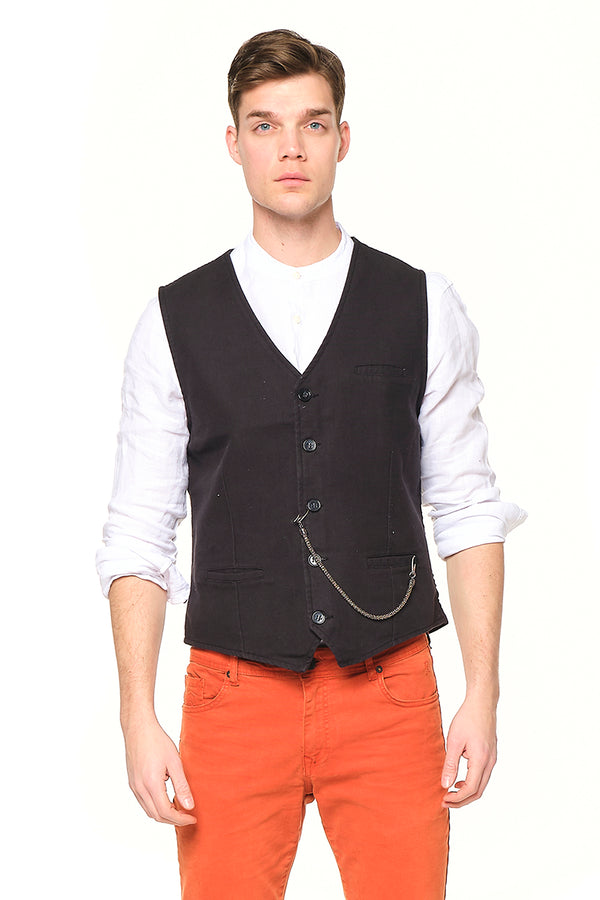 Pocket-watch chain Vest - BLACK GREY