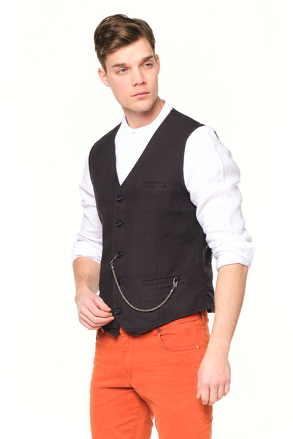 Pocket-watch chain Vest - BLACK GREY - Ron Tomson