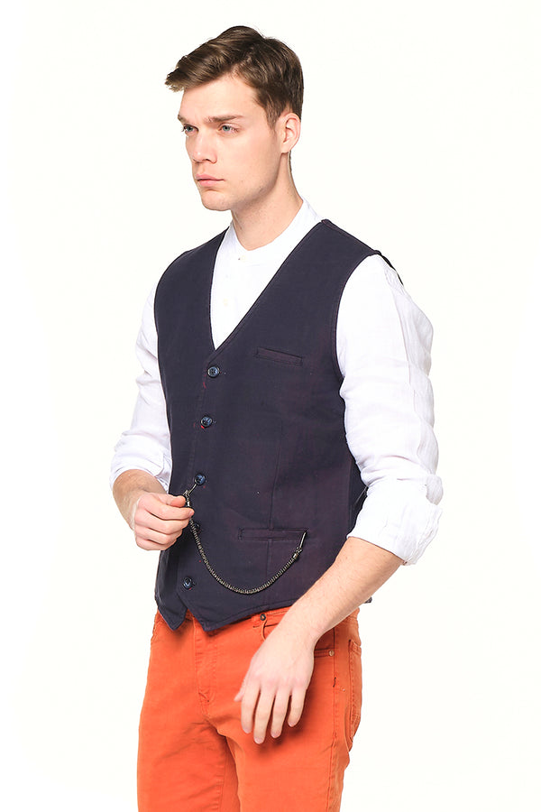 Pocket-watch chain Vest - NAVY RED - Ron Tomson