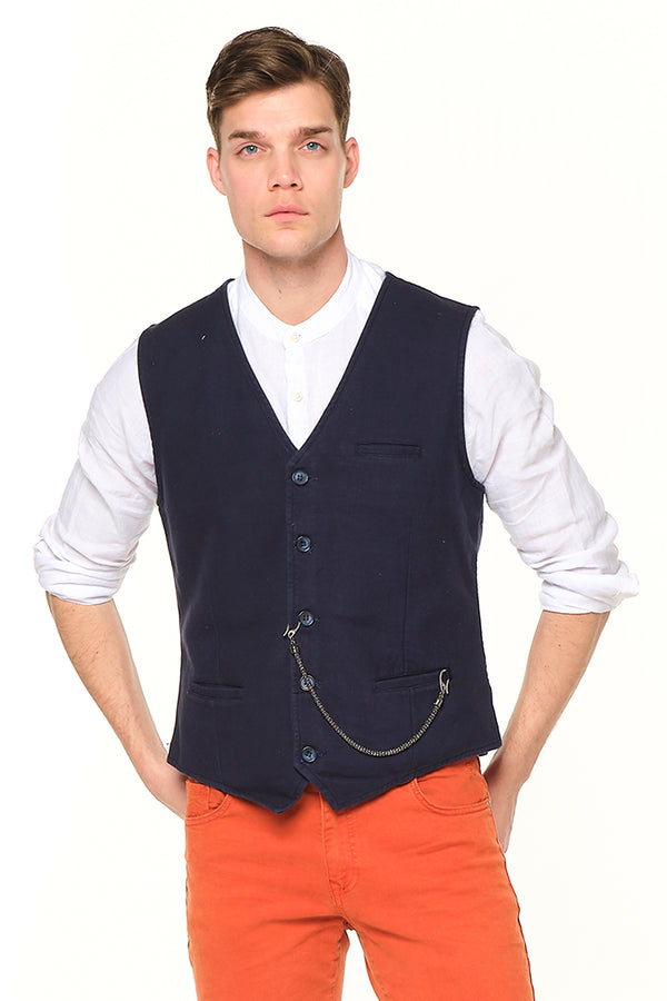Pocket-watch chain Vest - NAVY SAX - Ron Tomson