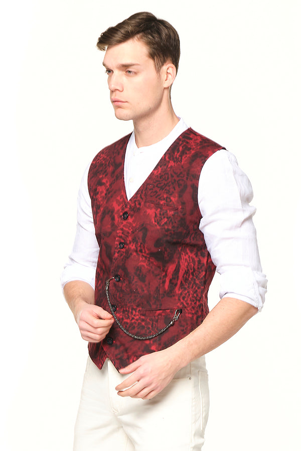 Pocket-watch chain Vest -RED BLACK - Ron Tomson