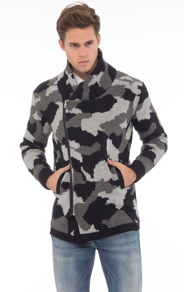 Cowl Neck Asymmetric Closure Camouflage Cardigan - Ron Tomson