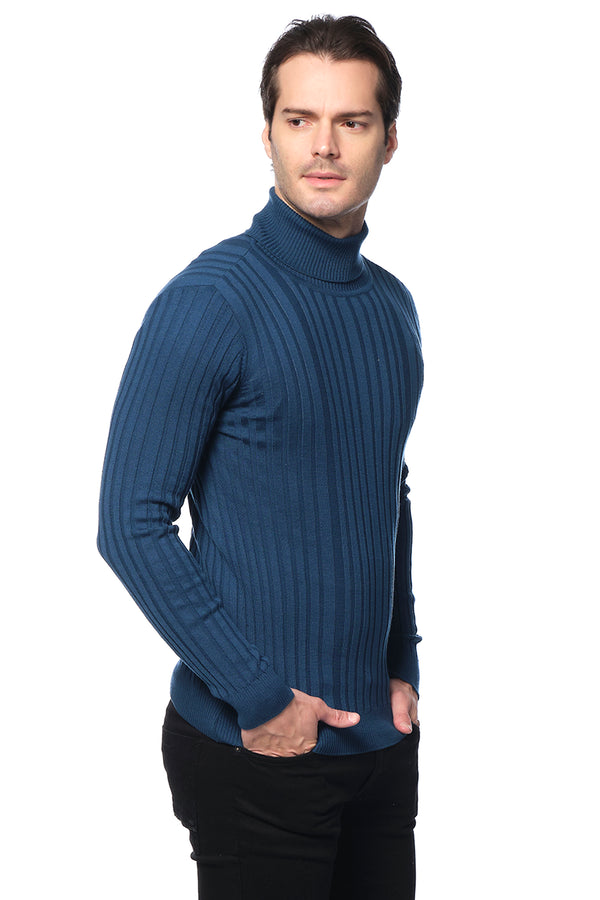 Roll Neck Ribbed Sweater - PETRO GREEN - Ron Tomson