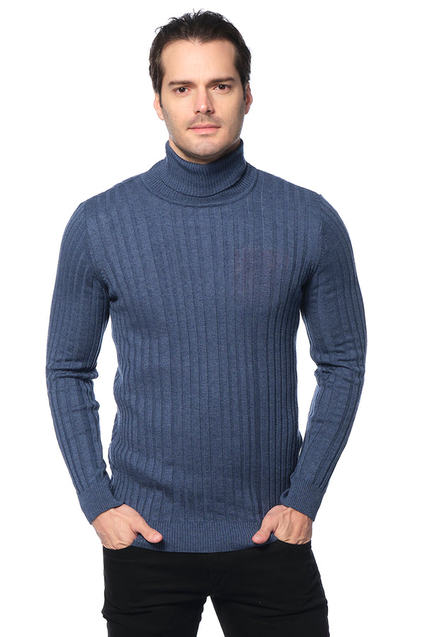 Roll Neck Ribbed Sweater - Indigo - Ron Tomson