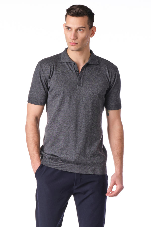 KNITTED POLO Shirt - ANTHRACITE - Ron Tomson